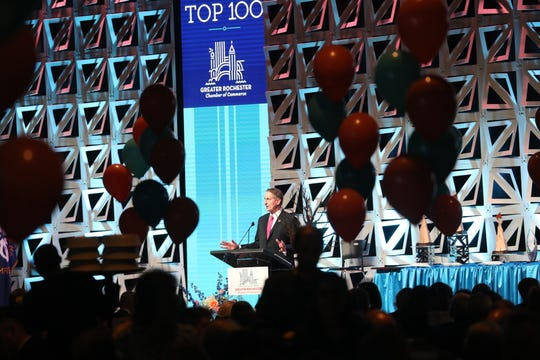 Rochester Chamber of Commerce CEO Bob Duffy addresses the Top 100 banquet Thursday night at the Joseph A. Floreano Rochester Riverside Convention Center.