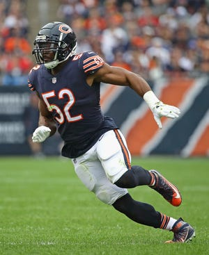 Khalil Mack of the Chicago Bears rushes the quarterback against Tampa Bay on Sept. 30. The former University at Buffalo star returns to Western New York on Sunday.