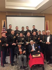 Veterans and active duty service members celebrate at the 2017 Marine Corps Coordinating Council of Rochester's Marine Corps Ball in Henrietta.