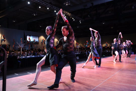 Jessica Tretter and Benjamin Rabe and other members of the Rochester City Ballet perform for the Top 100 banquet Thursday at the Joseph A. Floreano Rochester Riverside Convention Center.