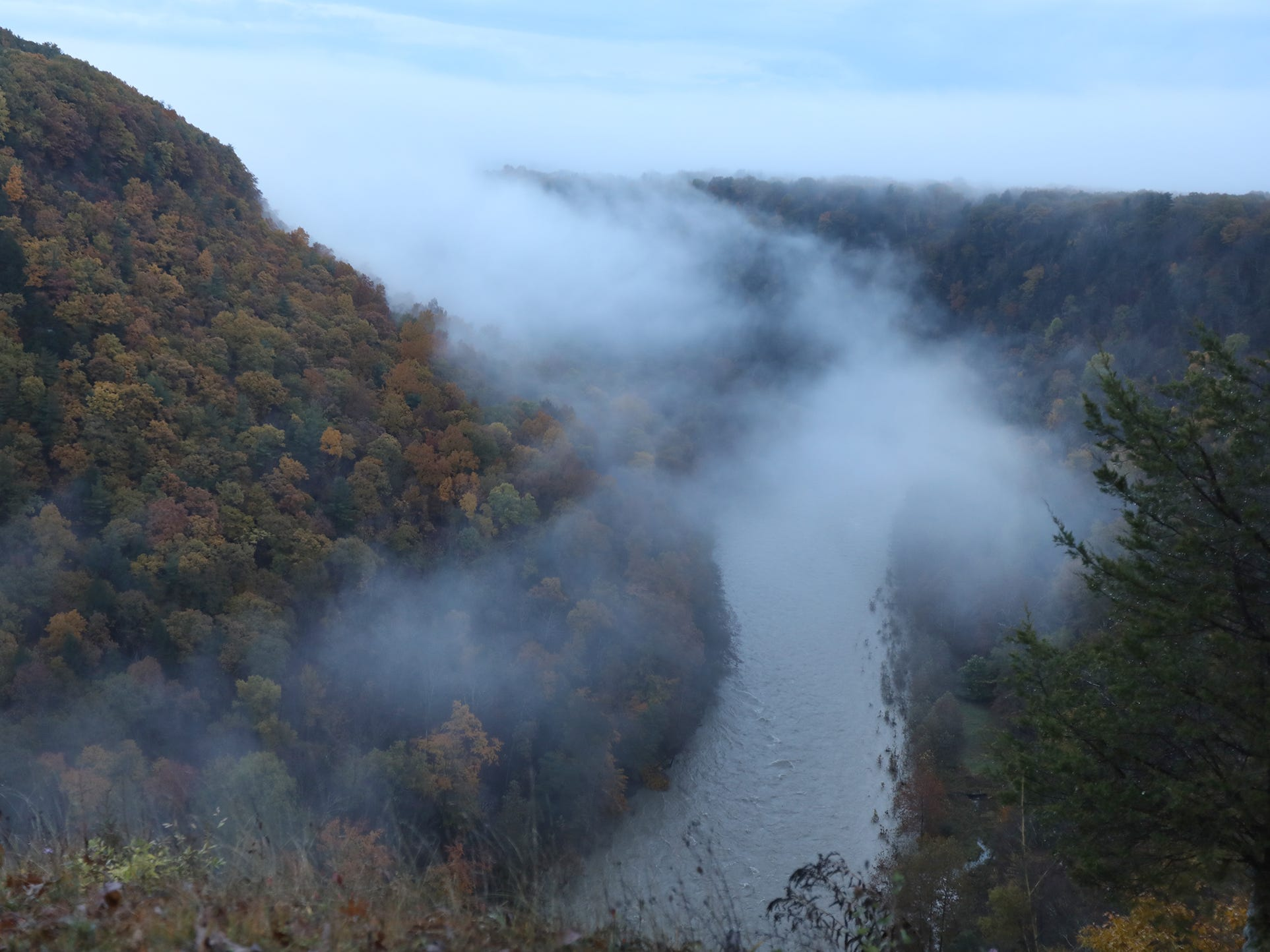 A ring of fog rises off the Genesee River Fog at the Archery Field Overlook in Letchworth State Park.