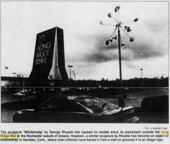The Windamajig sculpture by George Rhoads outside Long Ridge Mall in a 1988 photo.