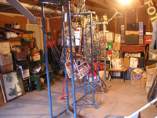 The Electric Ball Circus sculpture by George Rhoads, as it sits in Dave Nuciola's garage in Hamlin.