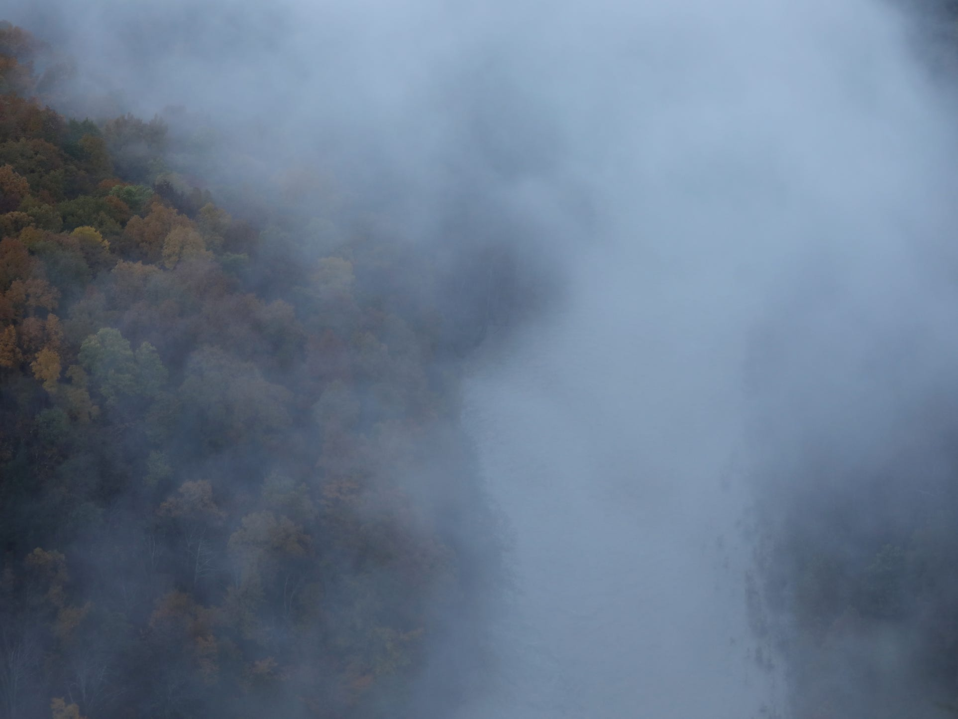 Fog rises off the Genesee River at Letchworth State Park.