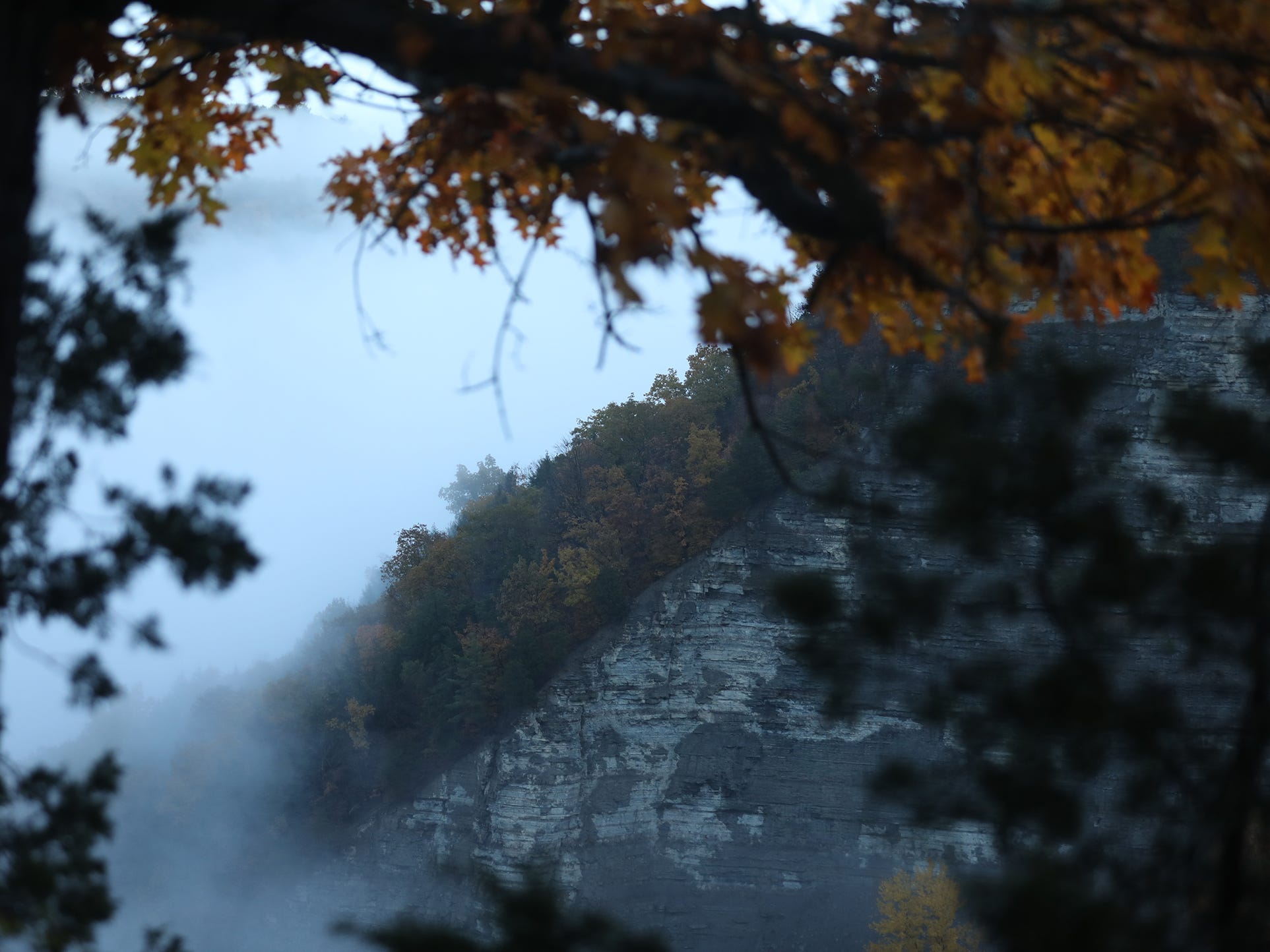 Fog obscures, temporarily, portions of the gorge at the Archery Field Overlook in Letchworth State Park.