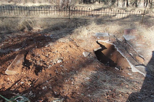 A grave in Stanford Cemetery in Redding was found vandalized Friday morning.