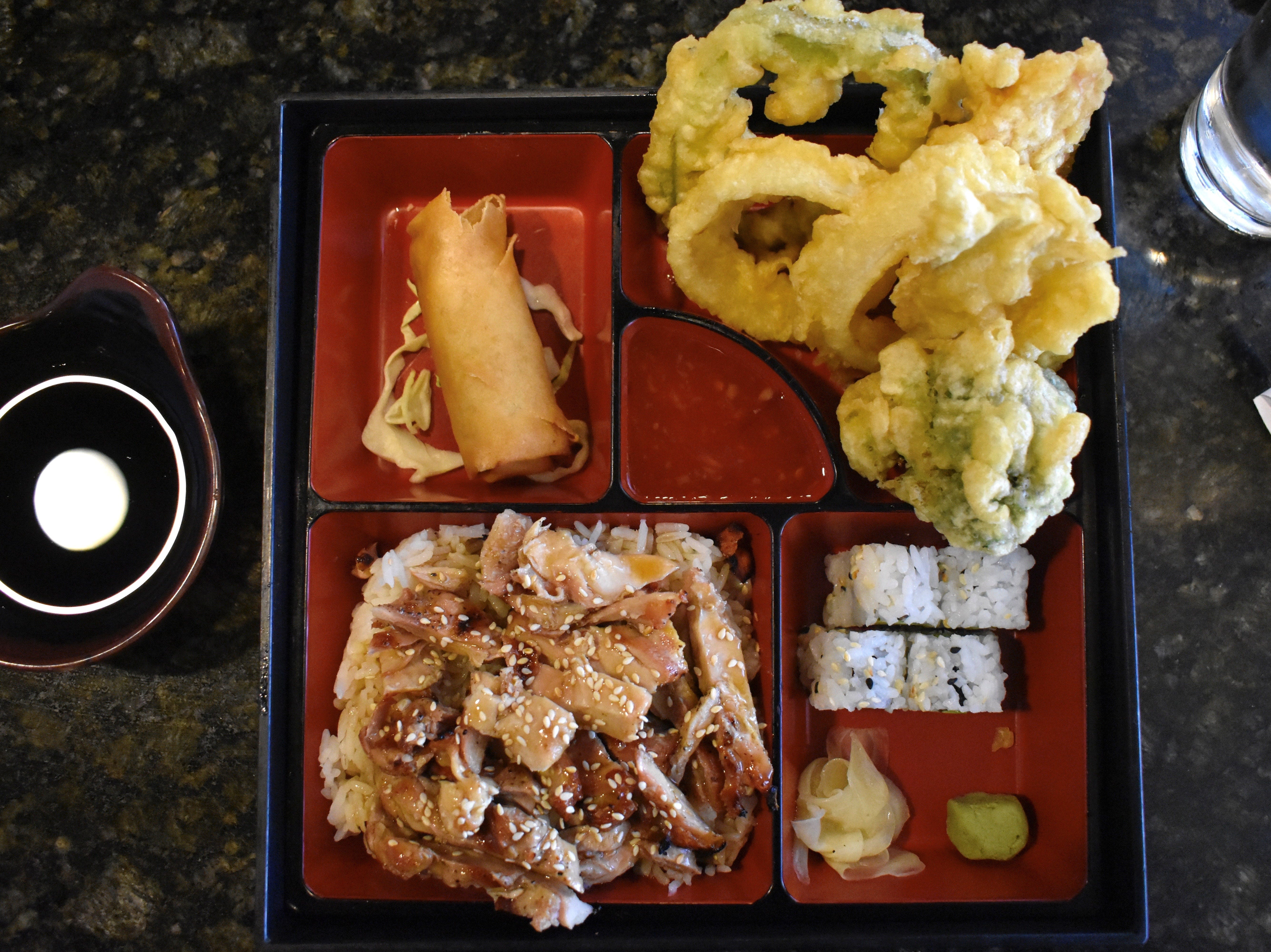 The teriyaki chicken lunch bento box at Kobe Steak and Seafood in downtown Redding.