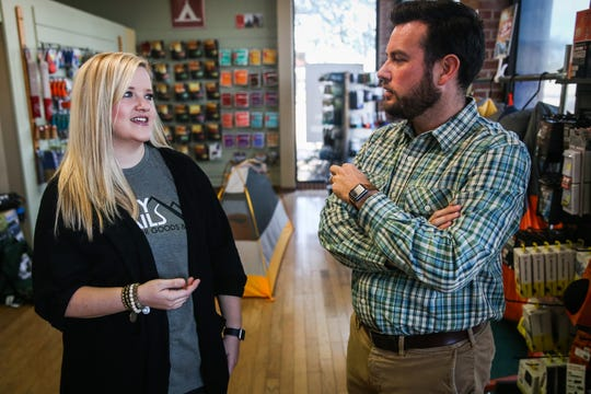 Owners Colby and Jessica Chesshire chat about their hopes for the store Friday, Nov. 2, 2018, at Happy Trails Outdoor Goods & More.