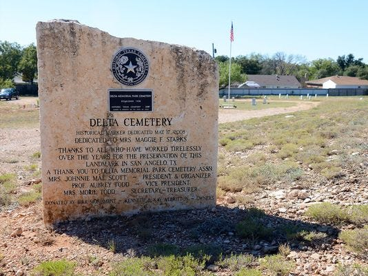 The historical cemetery marker at Delta Memorial Park in San Angelo.