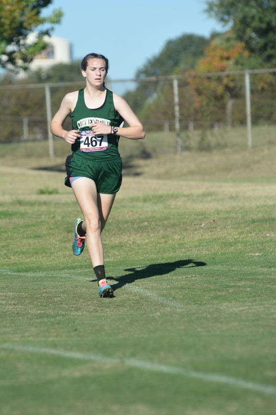 Cornerstone Christian School's Jessica Simon races Monday, Oct. 29, 2018, at the TAPPS State Cross Country Meet.