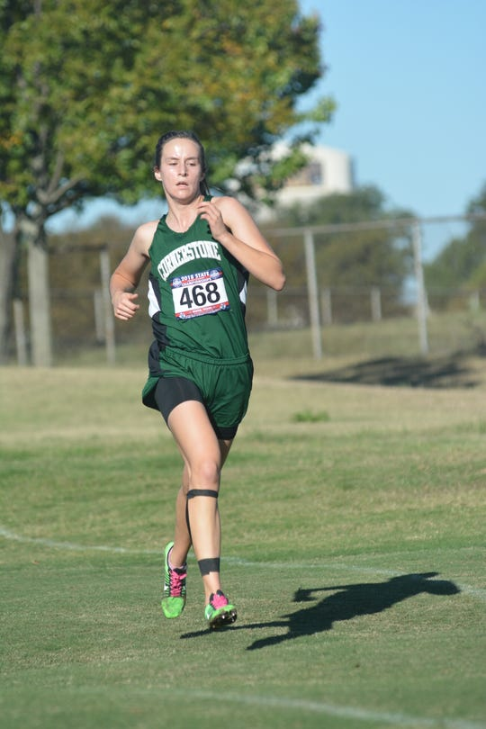 Cornerstone Christian School's Hannah Slate races Monday, Oct. 29, 2018, at the TAPPS State Cross Country Meet.