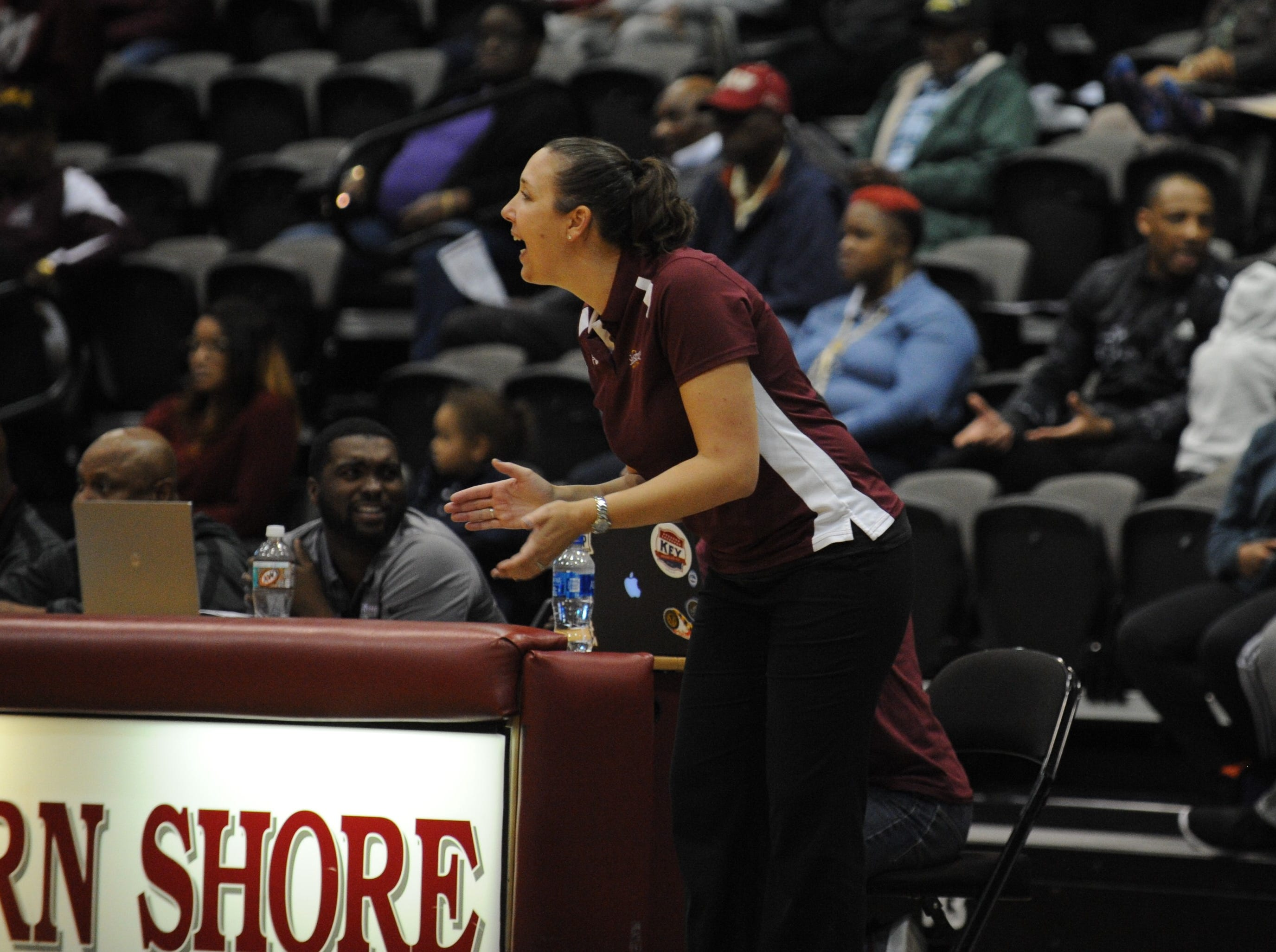 Salisbury University head coach Kelly Baskow yells to her players during the 10-Mile Tipoff on Thursday, Nov. 1, 2018. The Hawks won, 60-41.