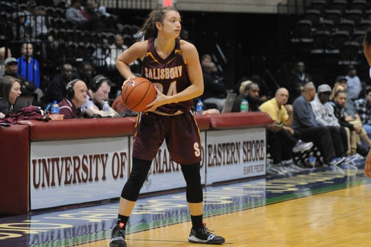 Salisbury University senior Aprie Preller looks to pass against the University of Maryland Eastern Shore during the 10-Mile Tipoff on Thursday, Nov. 1, 2018. The Hawks won, 60-41.