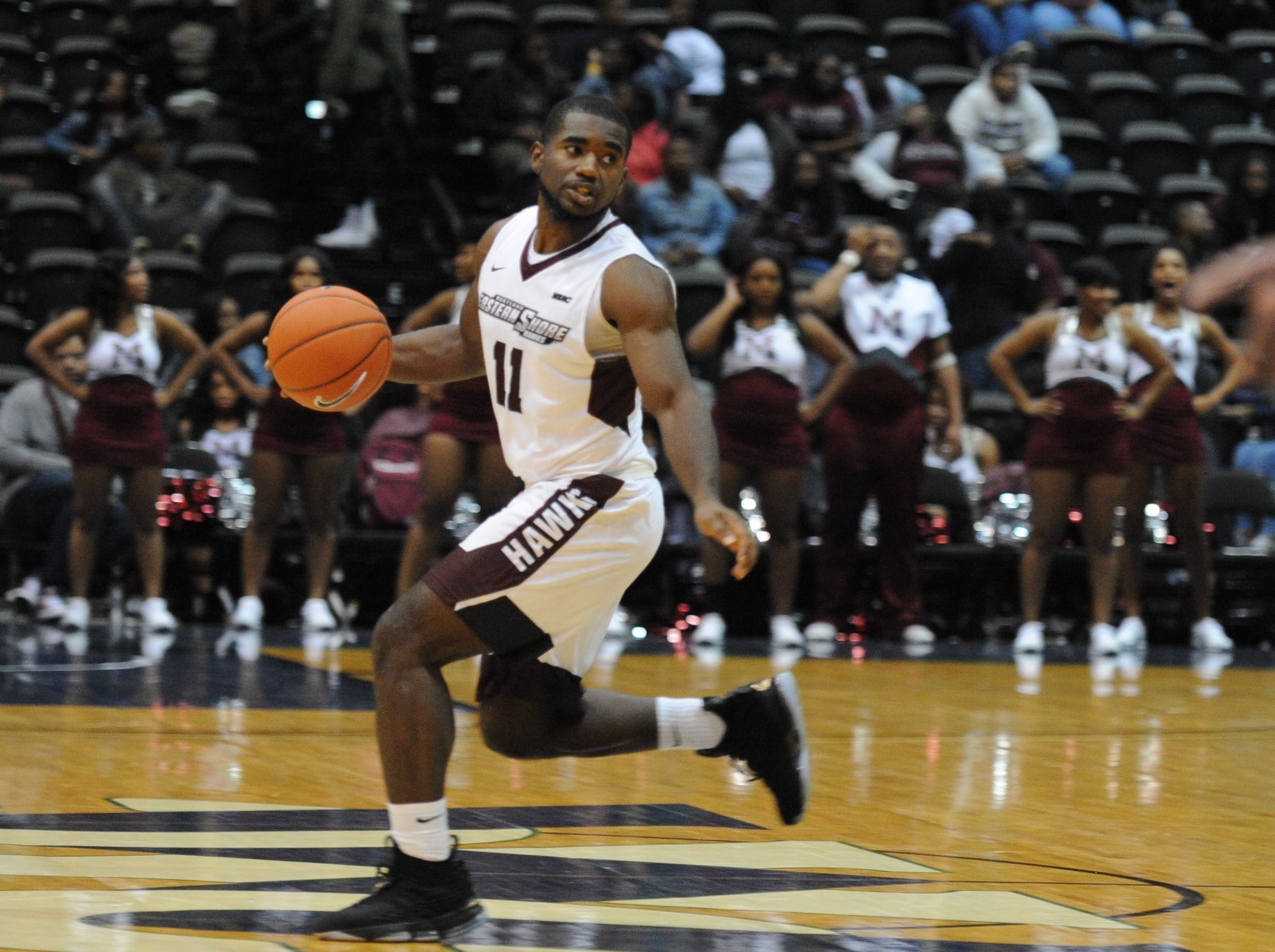 University of Maryland Eastern Shore guard Ahmad Frost takes the ball past half court against Salisbury University during the 10-Mile Tipoff on Thursday, Nov. 1, 2018. The Sea Gulls won, 67-60.