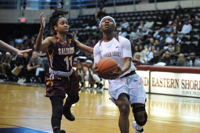 University of Maryland Eastern Shore guard Ciani Byrom goes in for a layup against Salisbury University's Jada Welbon during the 10-Mile Tipoff on Thursday, Nov. 1, 2018. The Hawks won, 60-41.