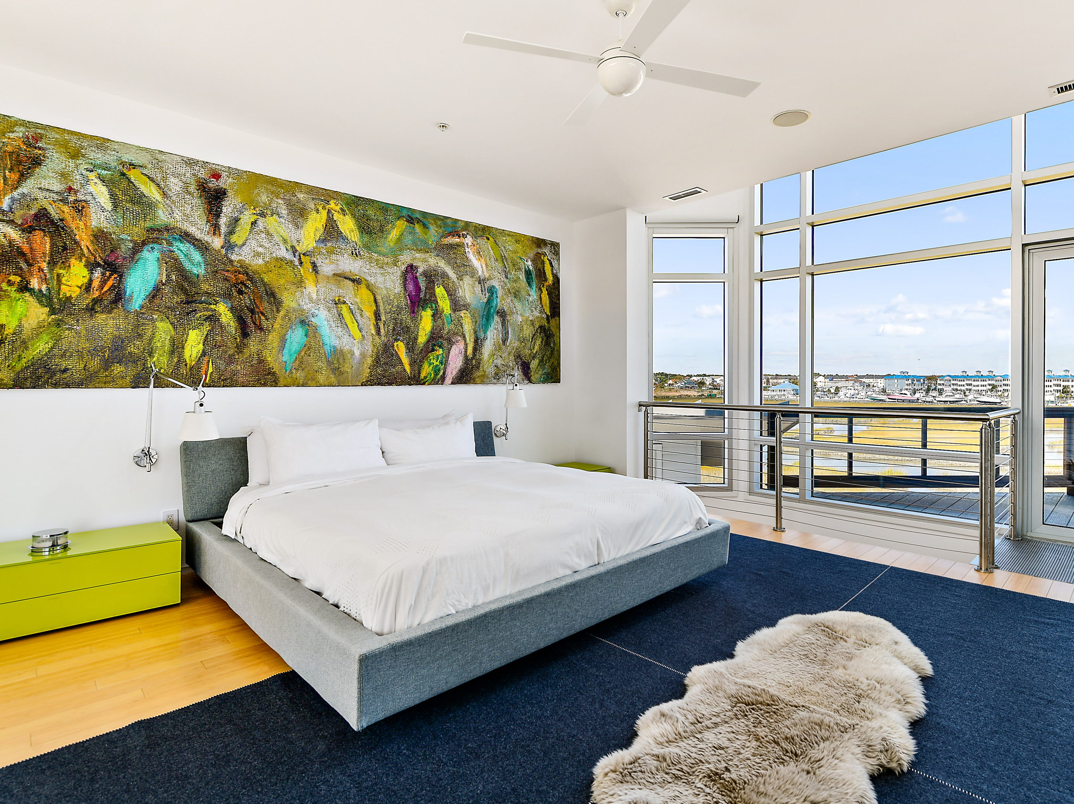 A bedroom in a five-bedroom home on Old Bridge Road in Ocean City that is listed for $3.6 million.