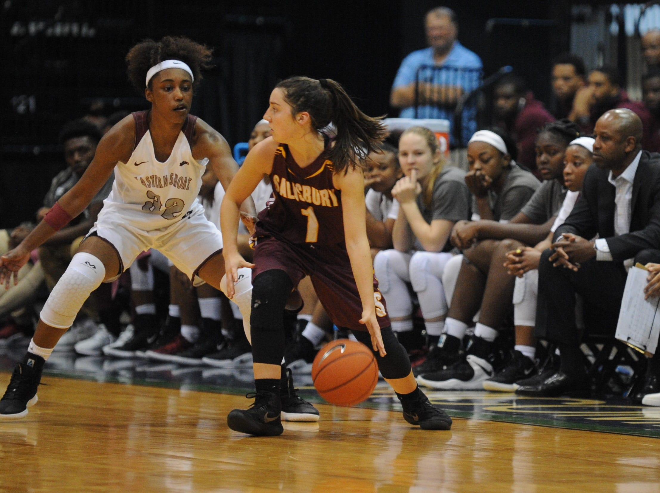 Salisbury University guard Lauren Fortescue controls the ball against the University of Maryland Eastern Shore during the 10-Mile Tipoff on Thursday, Nov. 1, 2018. The Hawks won, 60-41.