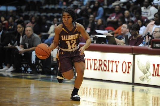 Salisbury University guard Amber Onyekwere takes the ball down court against the University of Maryland Eastern Shore during the 10-Mile Tipoff on Thursday, Nov. 1, 2018. The Hawks won, 60-41.