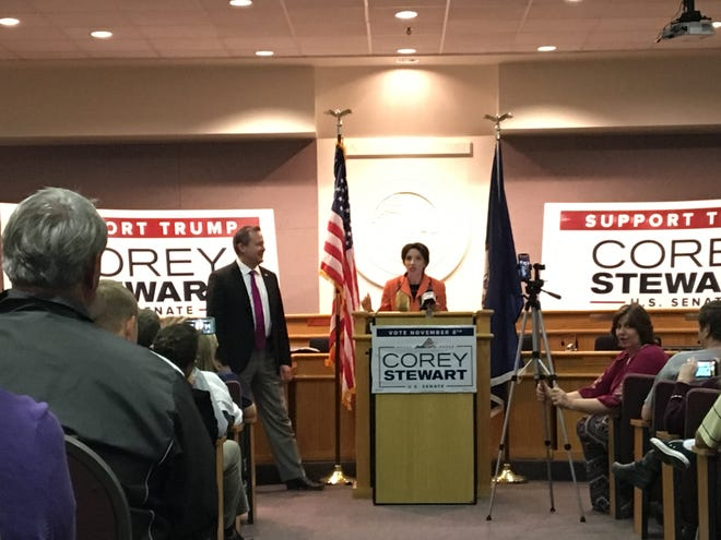 Corey Stewart, U.S. Senate Republican candidate, campaigned in Augusta County Thursday night. He touched on immigration policies, taxes and anti-abortion legislation.