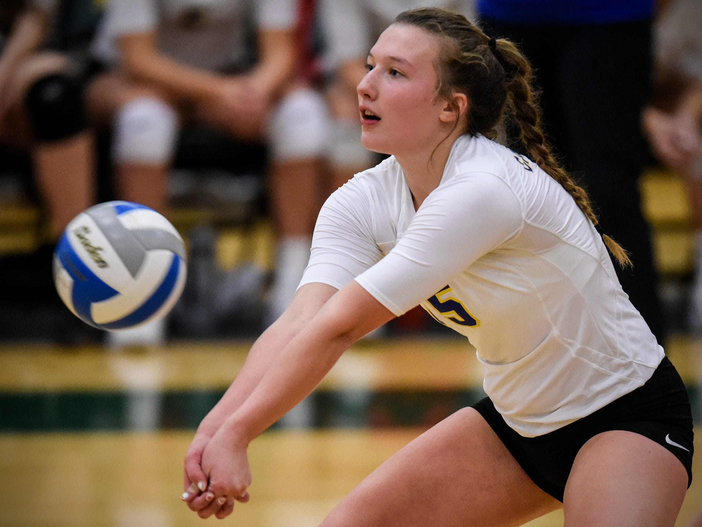 Gabby Heying concentrates on the ball during the Section 6-2A volleyball semifinals Thursday, Nov. 1, at Sauk Rapids-Rice High School.
