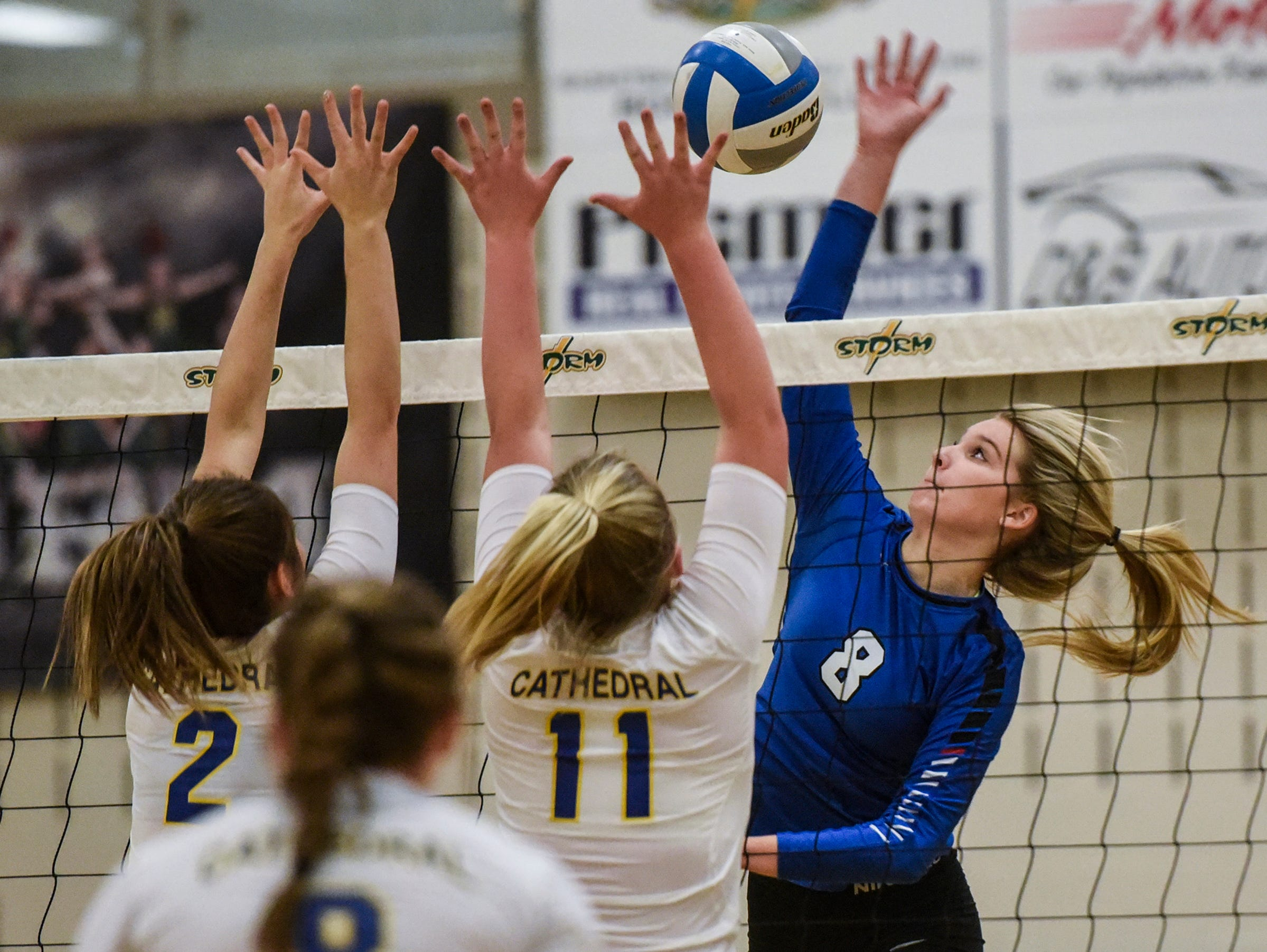 Foley's Jayden Hermanson leaps for a spike during the Section 6-2A volleyball semifinals Thursday, Nov. 1, at Sauk Rapids-Rice High School.
