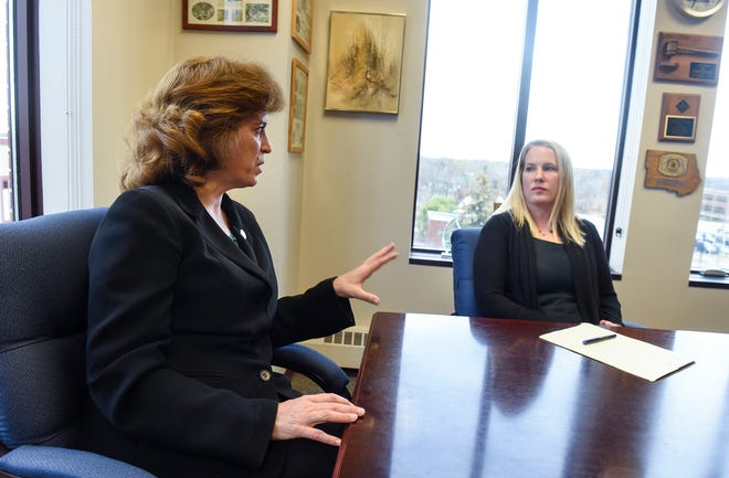 Stearns County Attorney Janelle Kendall and attorney Meriel Lester talk about the Stearns County Domestic Violence Court during an interview Friday, Nov. 2, in St. Cloud.