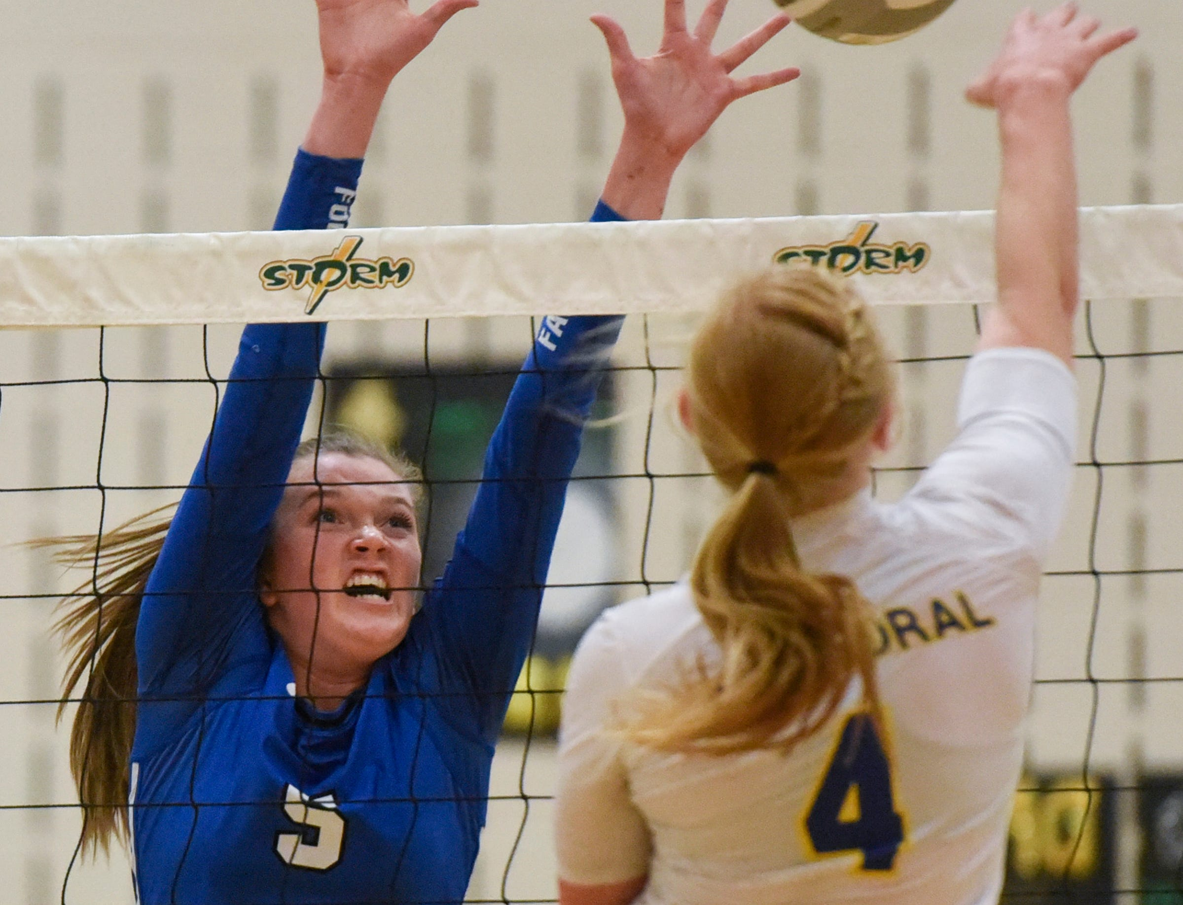 Foley's McKenna Gross leaps for a block during the Section 6-2A volleyball semifinals Thursday, Nov. 1, at Sauk Rapids-Rice High School.