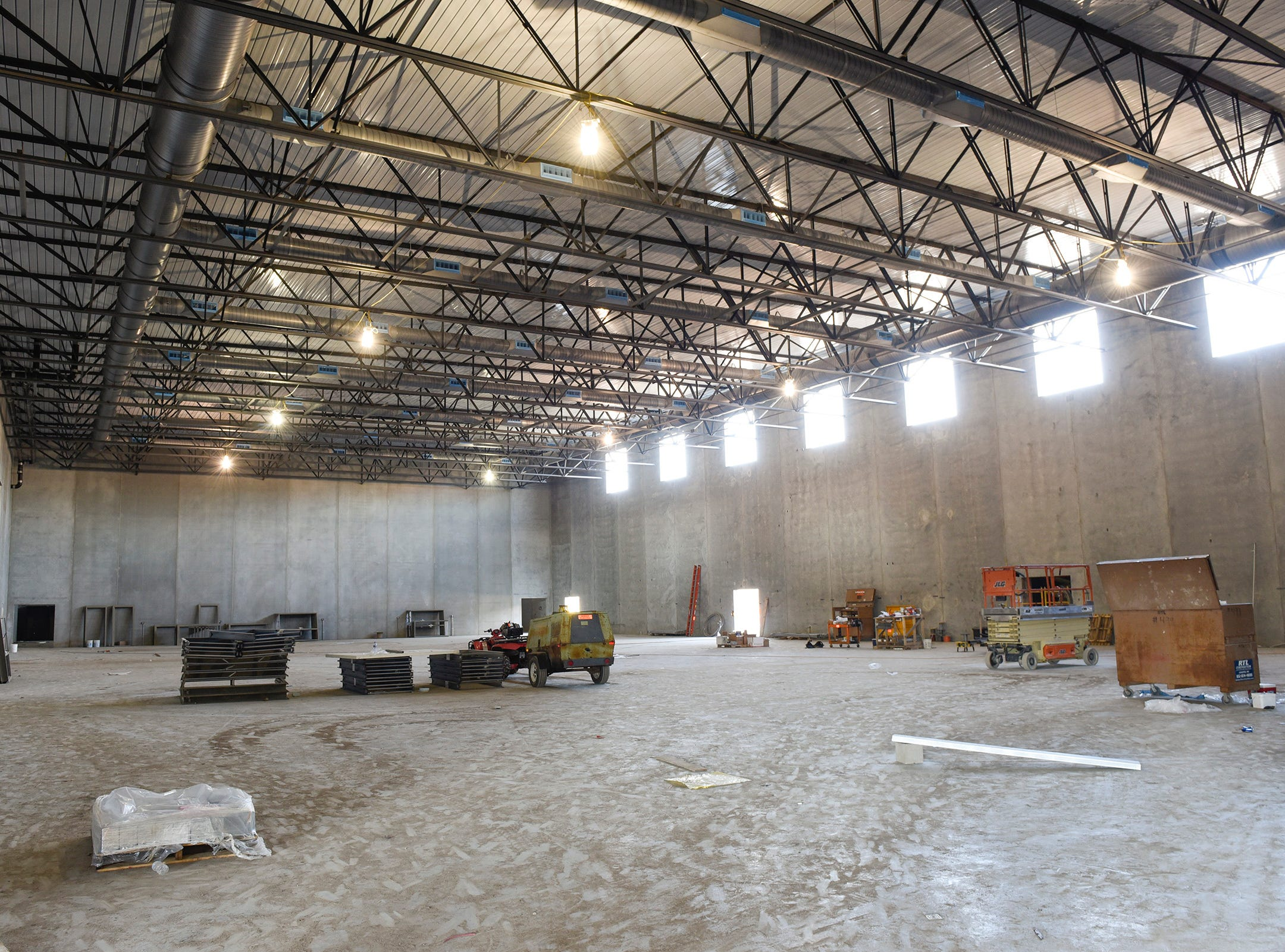 Construction of the gym Thursday, Nov. 1, at the new Tech High School.