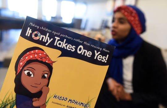 Habso Mohamud talks about her children's book  Friday, Nov. 2, in St. Cloud.