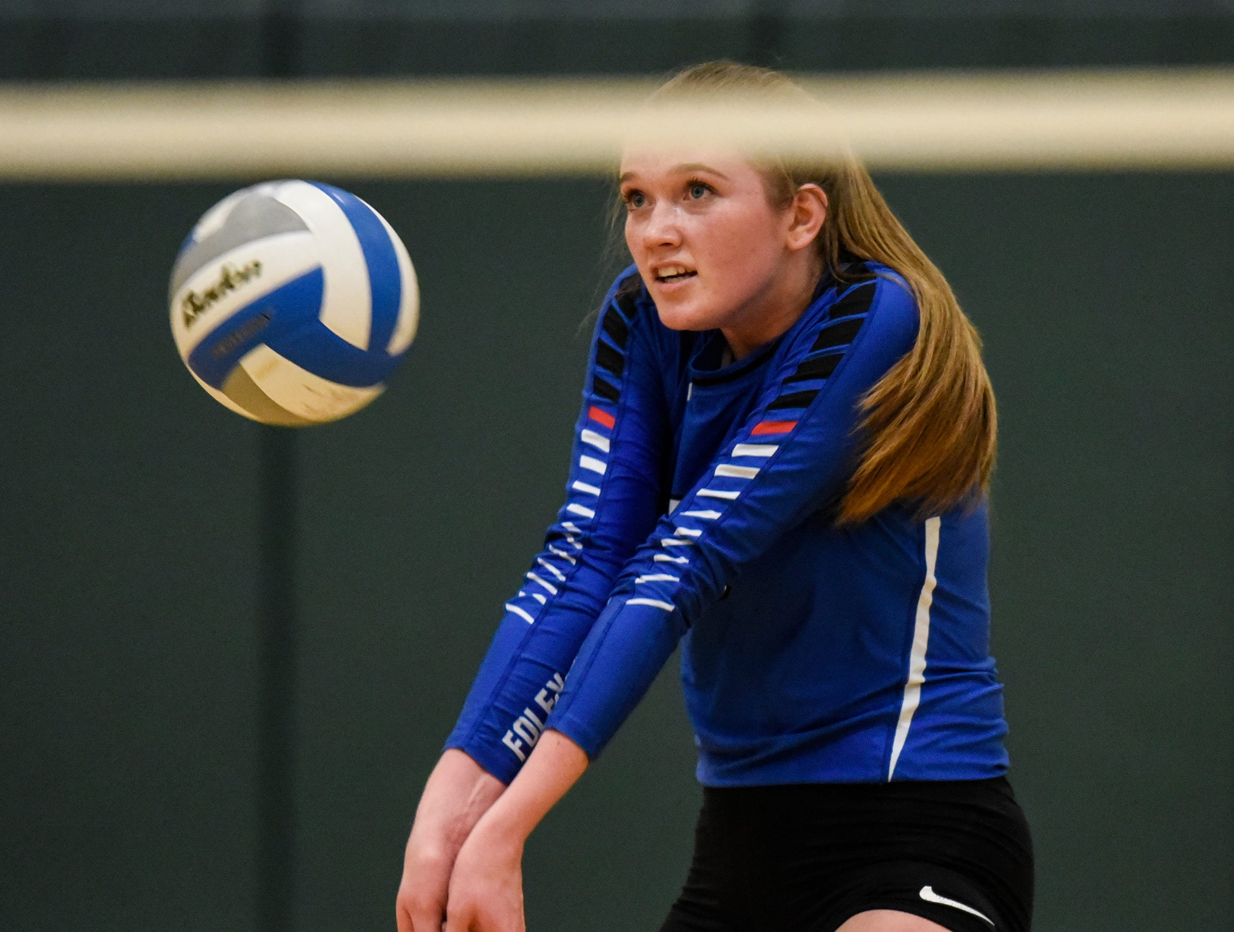 Foley's Madison Long concentrates on the ball during the Section 6-2A volleyball semifinals Thursday, Nov. 1, at Sauk Rapids-Rice High School.