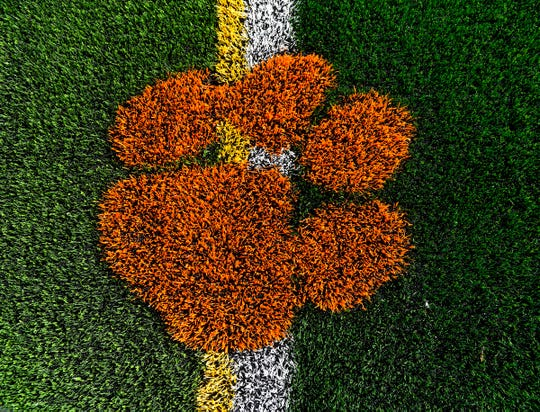 A tiger paw in the turf of the new athletic field shown Thursday, Nov. 1, at the new Tech High School.