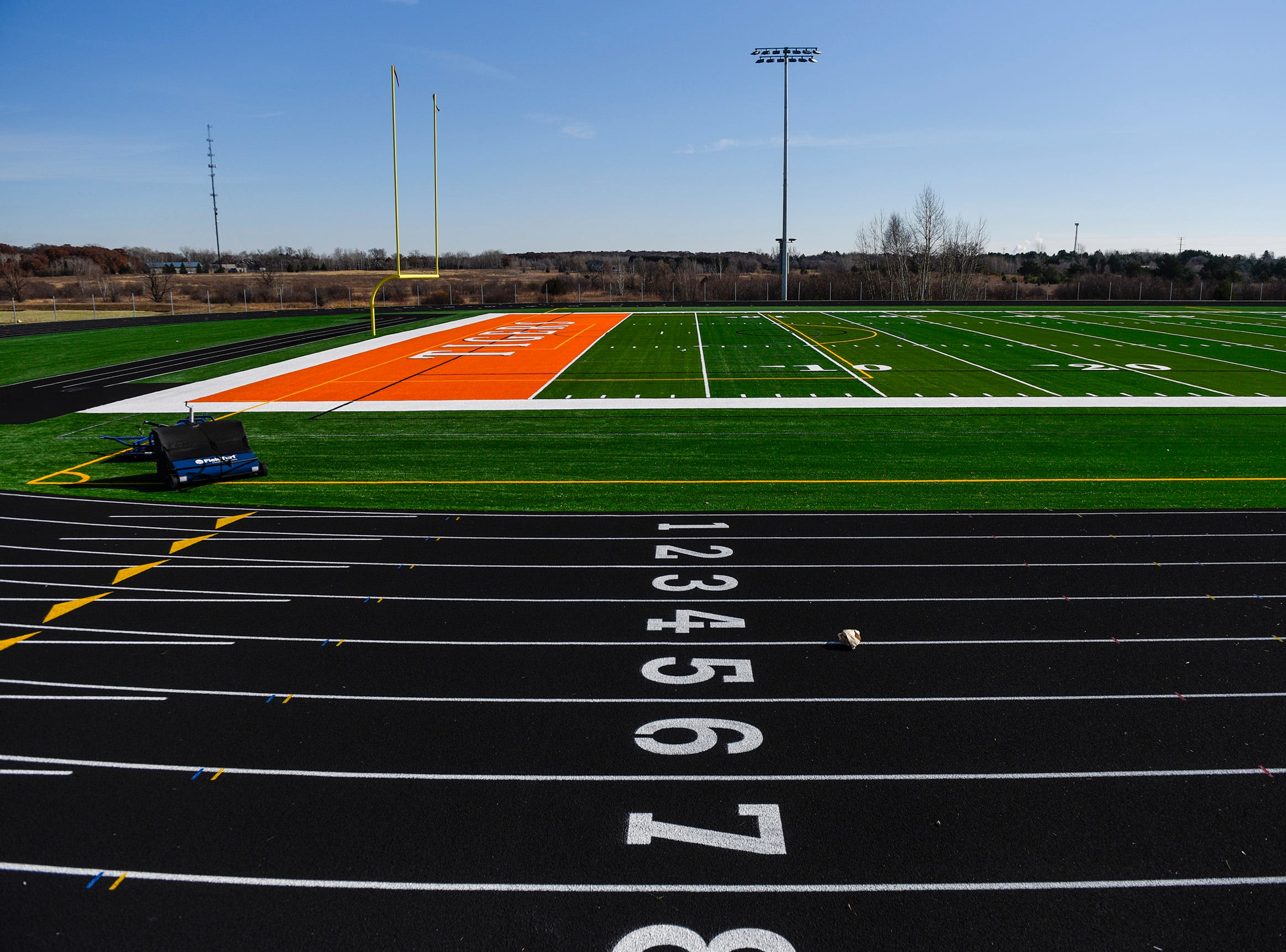 The track and field turf are installed shown Thursday, Nov. 1, at the new Tech High School.