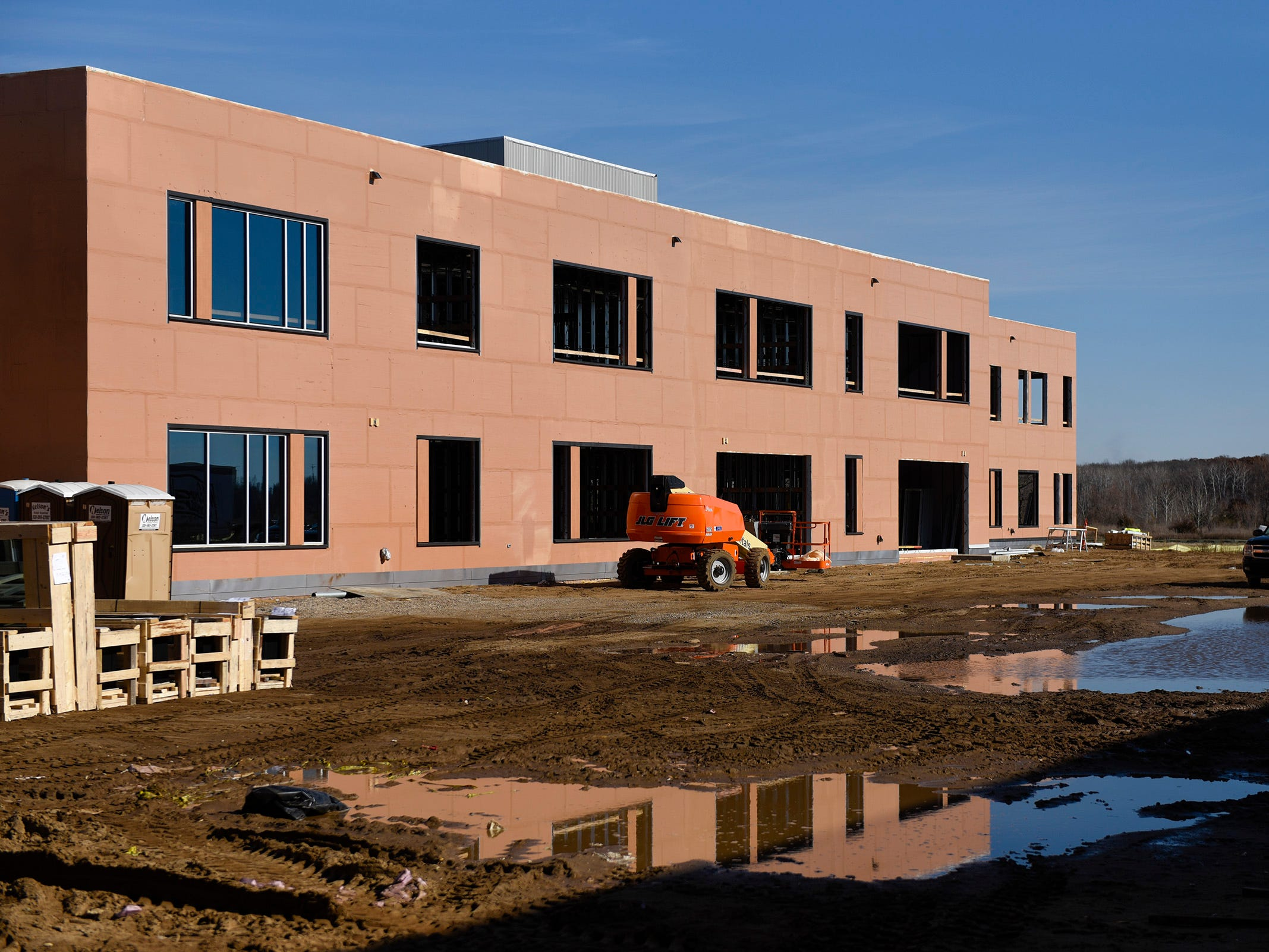 Construction of one of the three leaning neighborhoods shown Thursday, Nov. 1, at the new Tech High School.