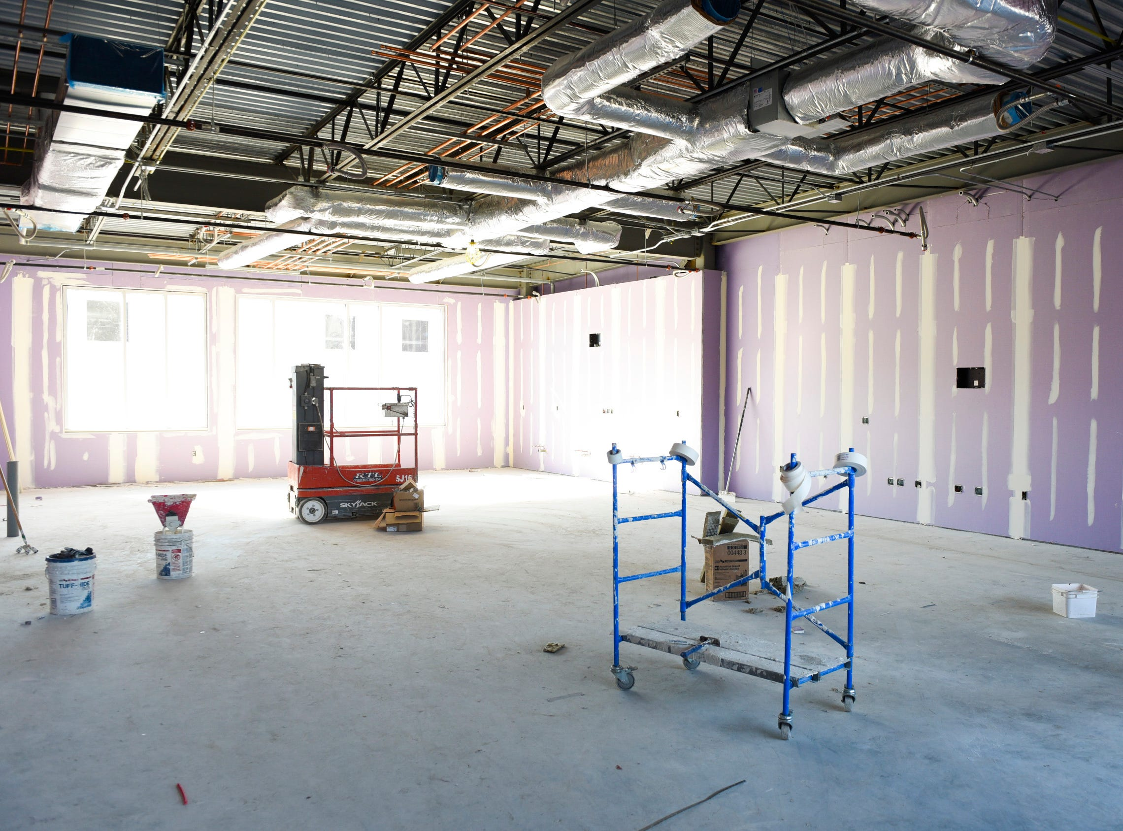 The walls for one of the science rooms is framed Thursday, Nov. 1, at the new Tech High School.