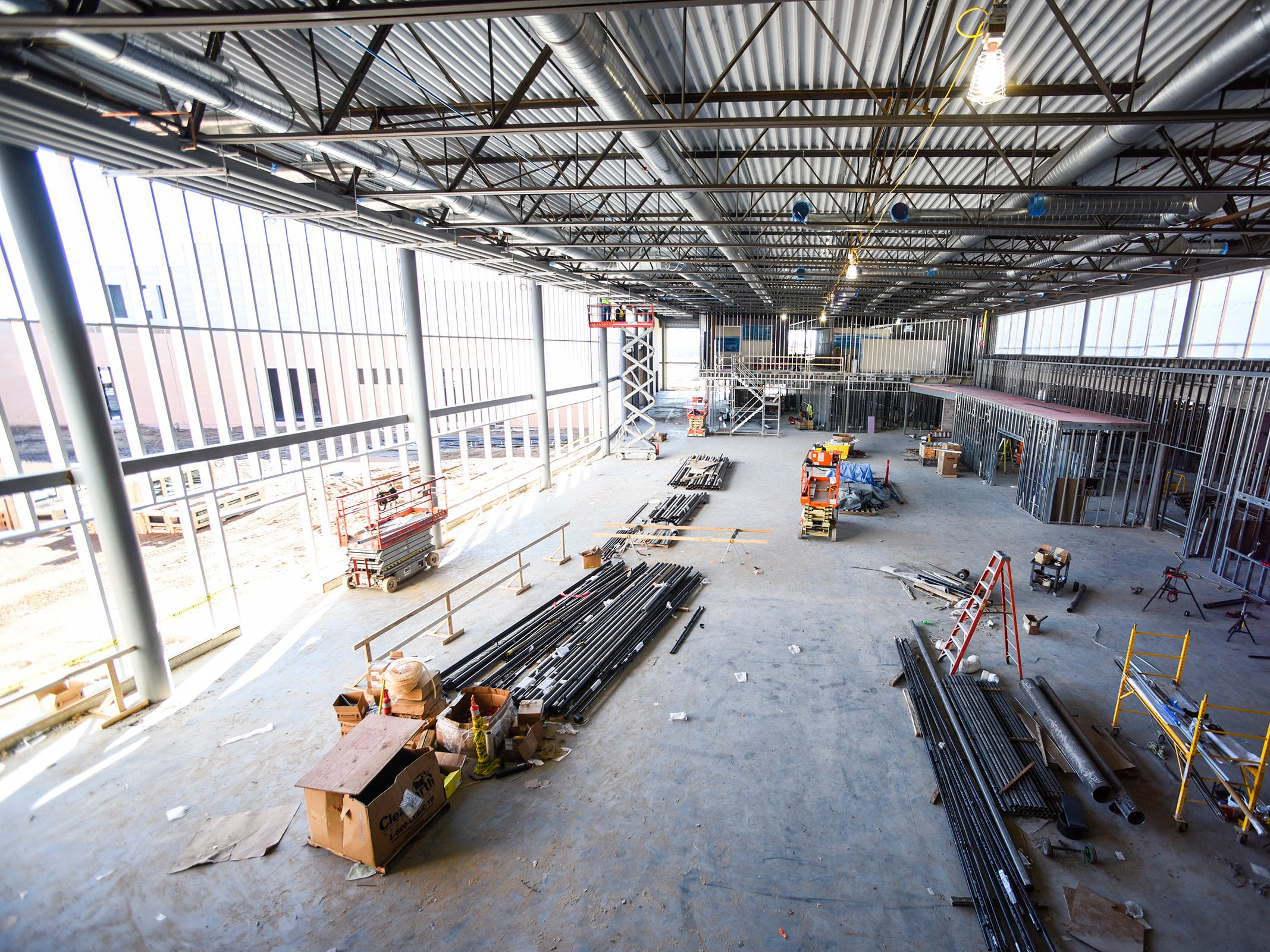 The view of the commons area from the second floor Thursday, Nov. 1, at the new Tech High School.