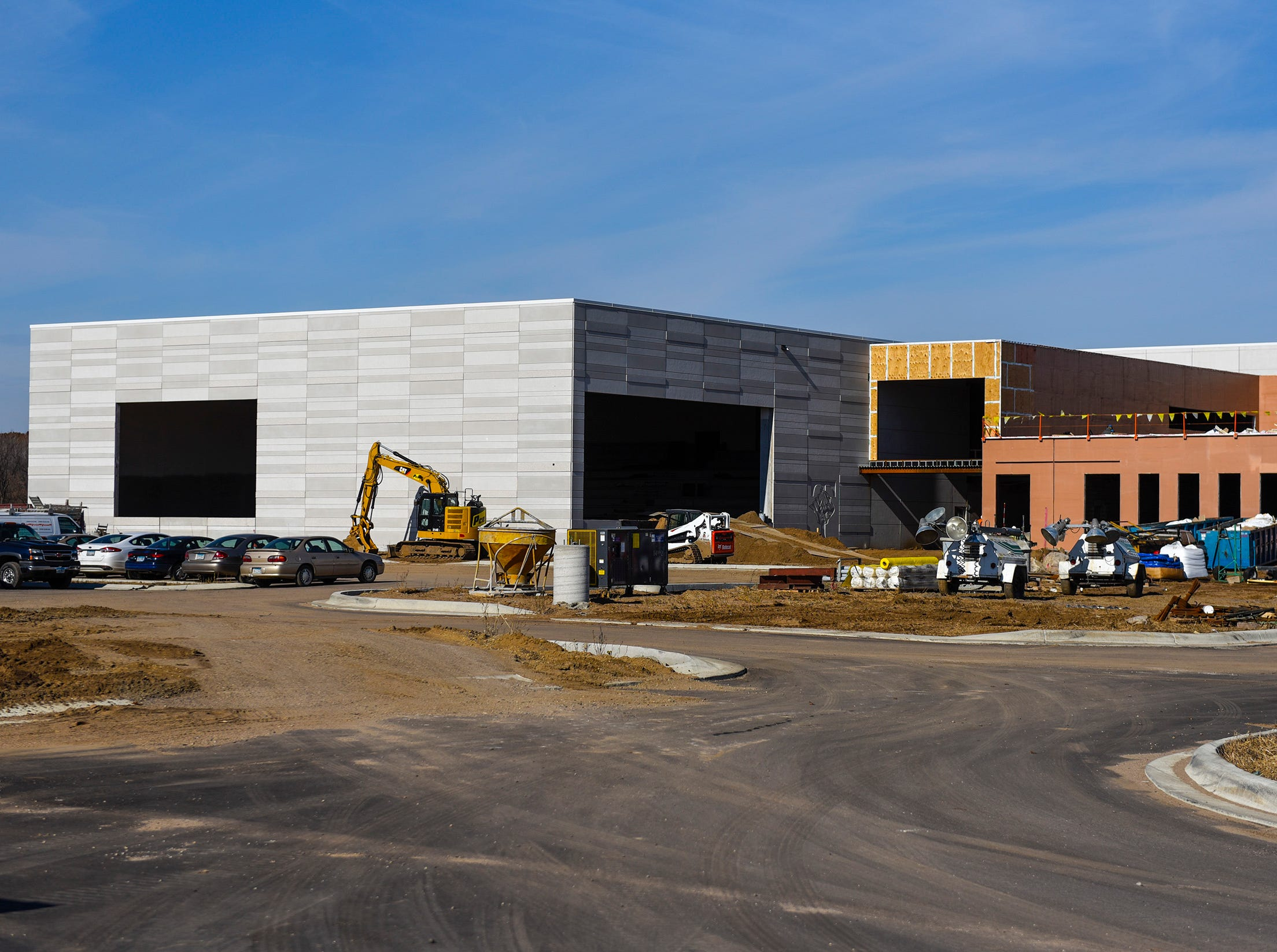 Construction of the pool, left, and the events entry shown Thursday, Nov. 1, at the new Tech High School.