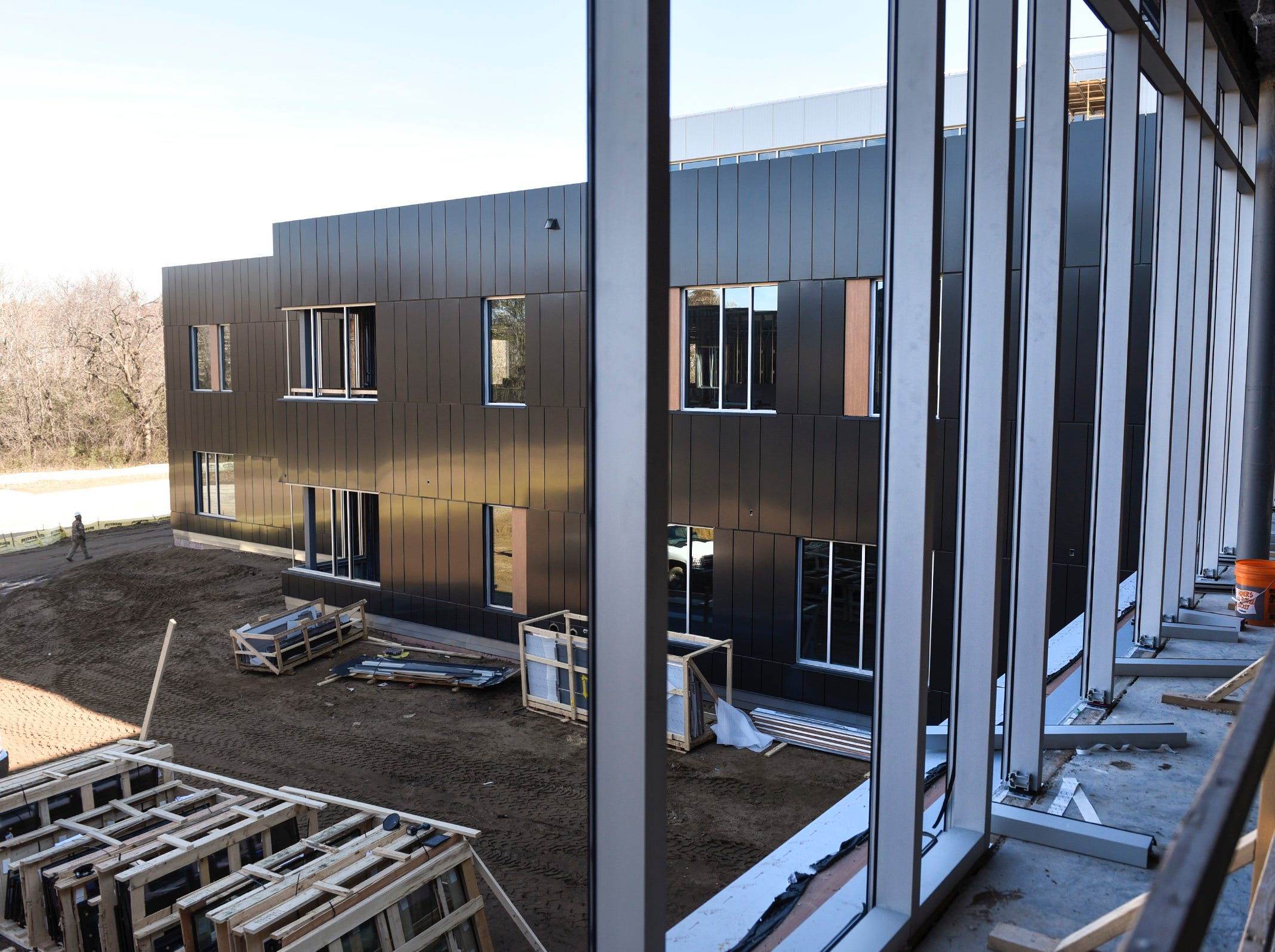 The view of one of the three learning neighborhoods from the commons area Thursday, Nov. 1, at the new Tech High School.