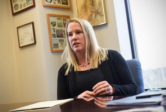 Attorney Meriel Lester talks about the processes and procedures used in the Stearns County Domestic Violence Court during an interview Friday, Nov. 2, in St. Cloud.