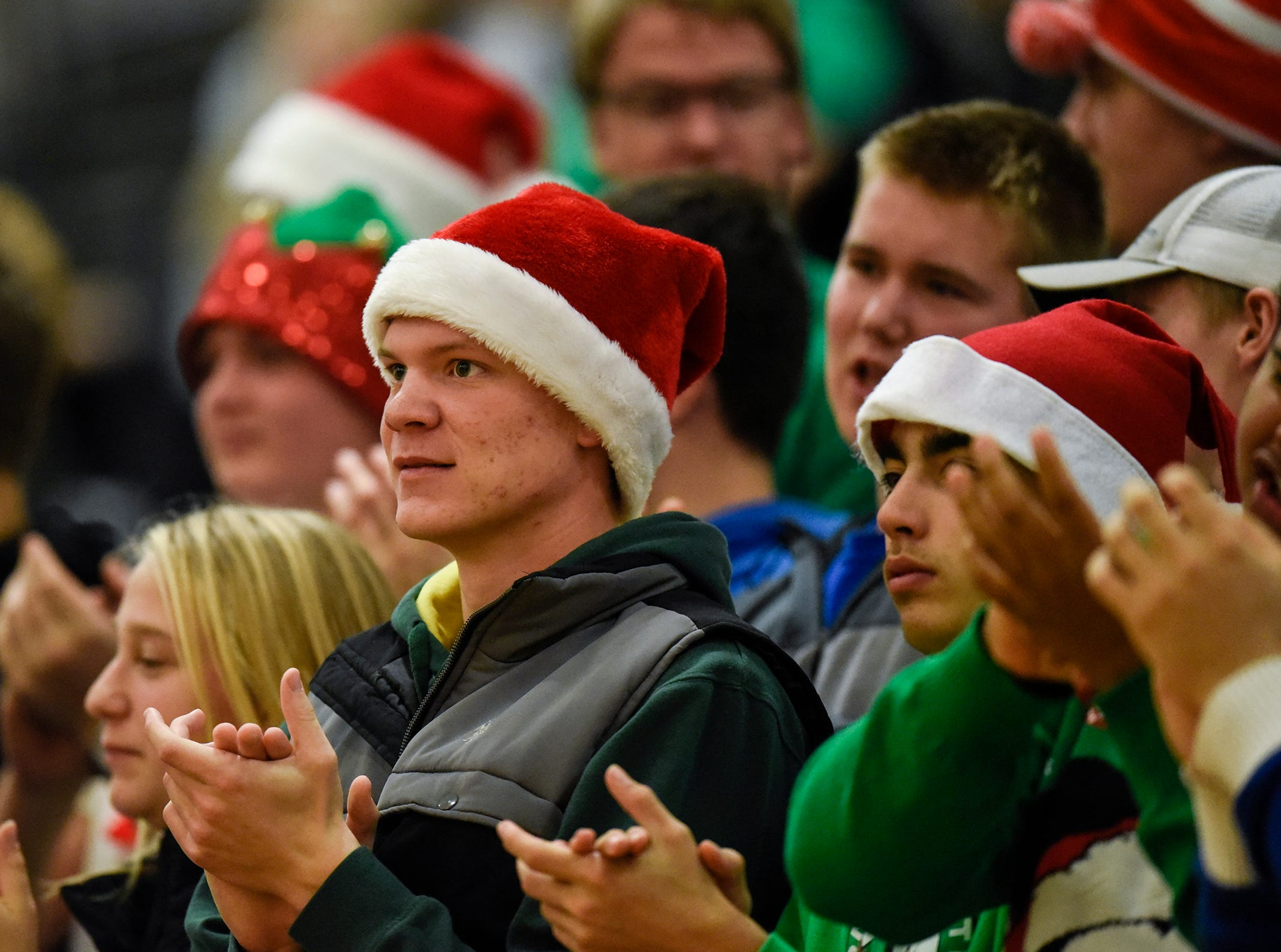 Foley fans wear their Christmas finest during the Section 6-2A volleyball semifinals Thursday, Nov. 1, at Sauk Rapids-Rice High School.