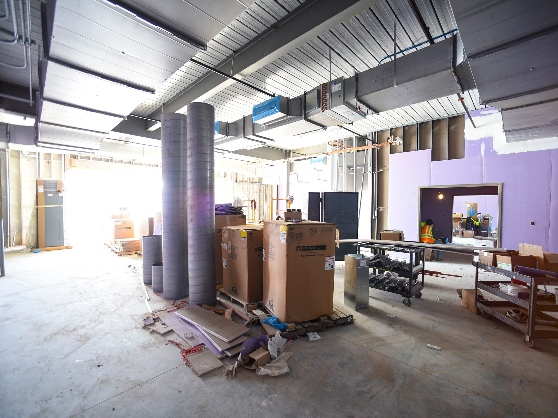 Work continues on one of the fabrication labs Thursday, Nov. 1, at the new Tech High School.