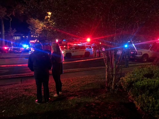Police and EMS respond to a shooting in the Betton Place complex Friday evening. At least four are injured and one dead of a self inflicted gunshot.