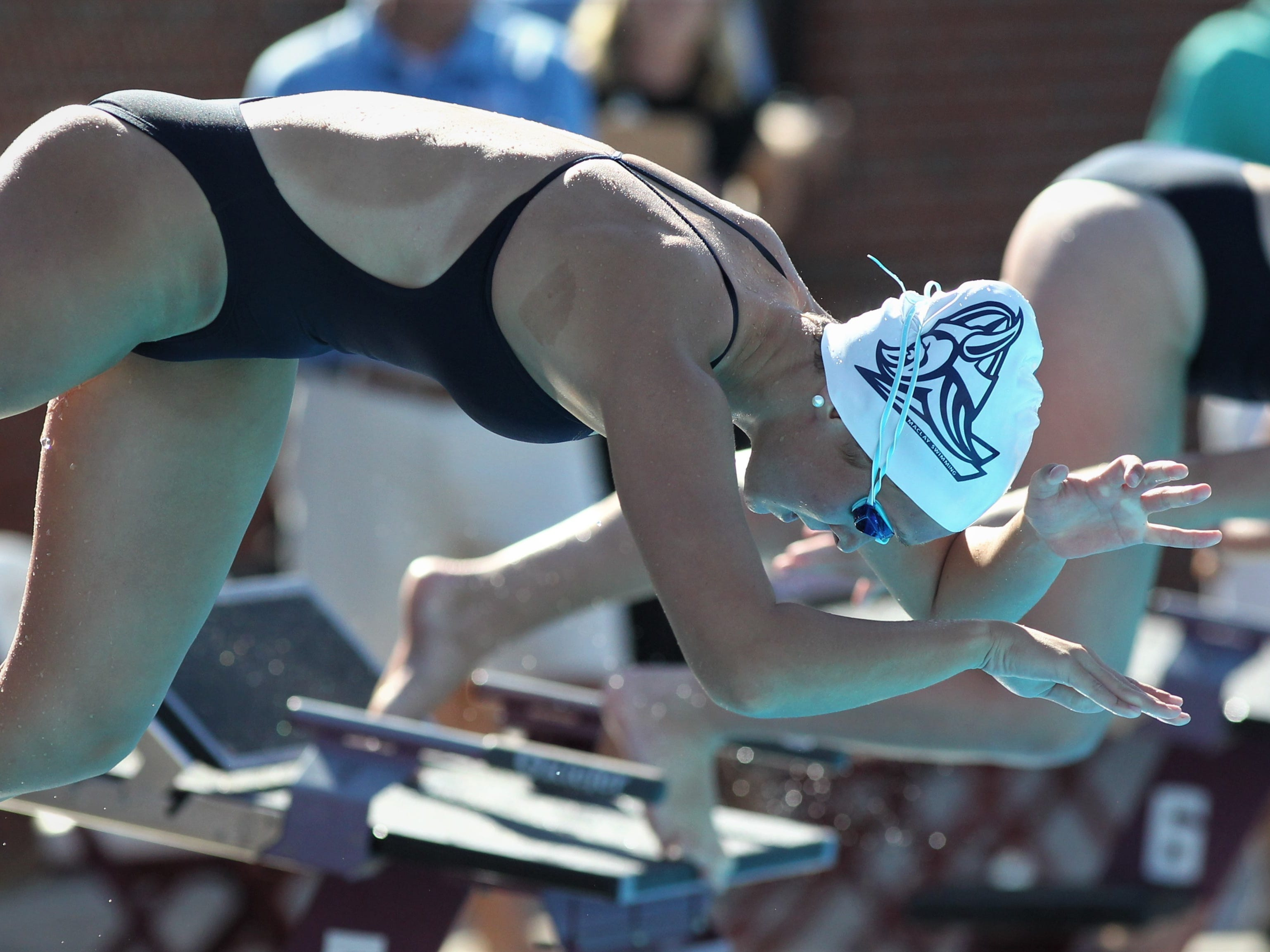 Maclay eighth-grader Meg Howell dives into the pool for a freestyle race during the District 1-1A swimming and diving meet at Morcom Aquatics Center on Wednesday, Oct. 21, 2018.