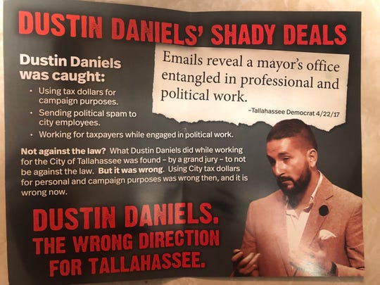 Campaign flyer from Committee to Protect Florida raises same questions about Dustin Daniels as a recent video from his opponent, John Dailey.