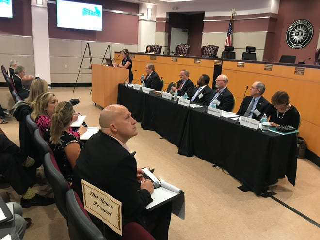 Port St. Lucie Mayor Greg Oravec listens to Urban Land Institute recommendations for city owned Tradition Center for Commerce on Nov. 2, 2018.