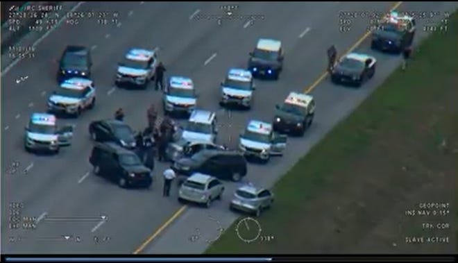 A still from a video of a vehicle pursuit posted to the Indian River County Sheriff's Office official Facebook page.