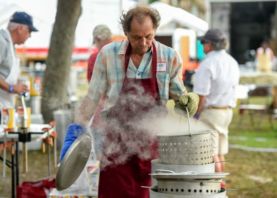 Mollusk lovers relish the abundance of shellfish Friday, Nov. 2, 2018, during the annual Sebastian Clambake at Riverview Park in Sebastian. The three-day festival features fresh seafood booths, historic re-enactments, a children's zone, entertainment, live music, demonstrations, vendor booths, and more. The Sebastian Clambake continues 10 a.m. to 9 p.m. on Saturday and 10 a.m. to 5 p.m. on Sunday.