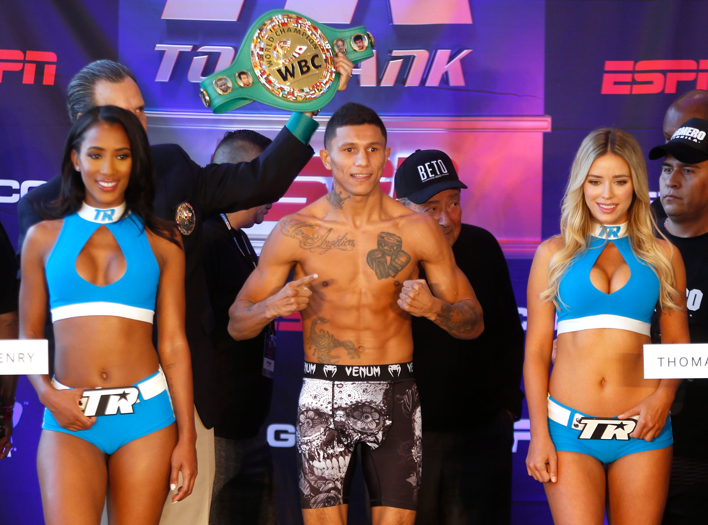 "Miguel Berchelt (shown here) puts his WBC Super Featherweight Championship belt on the line against Miguel ""Mickey"" Roman (shown here) Saturday night in  the Don Haskins Center. Doors open at 3:30 and first fight enters the ring at 4 p.m.for the seven fight bout card."