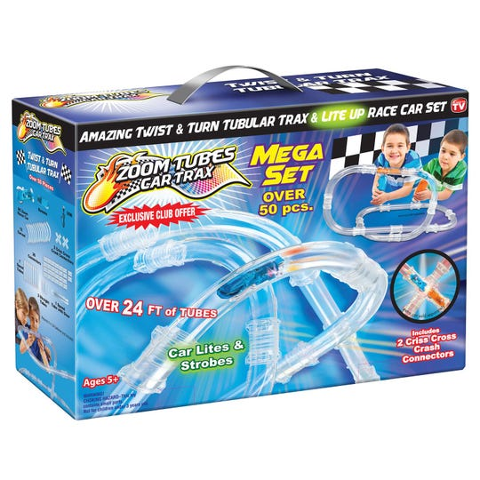 The Zoom Tubes Mega Set allows kids to  create different types of track configurations.