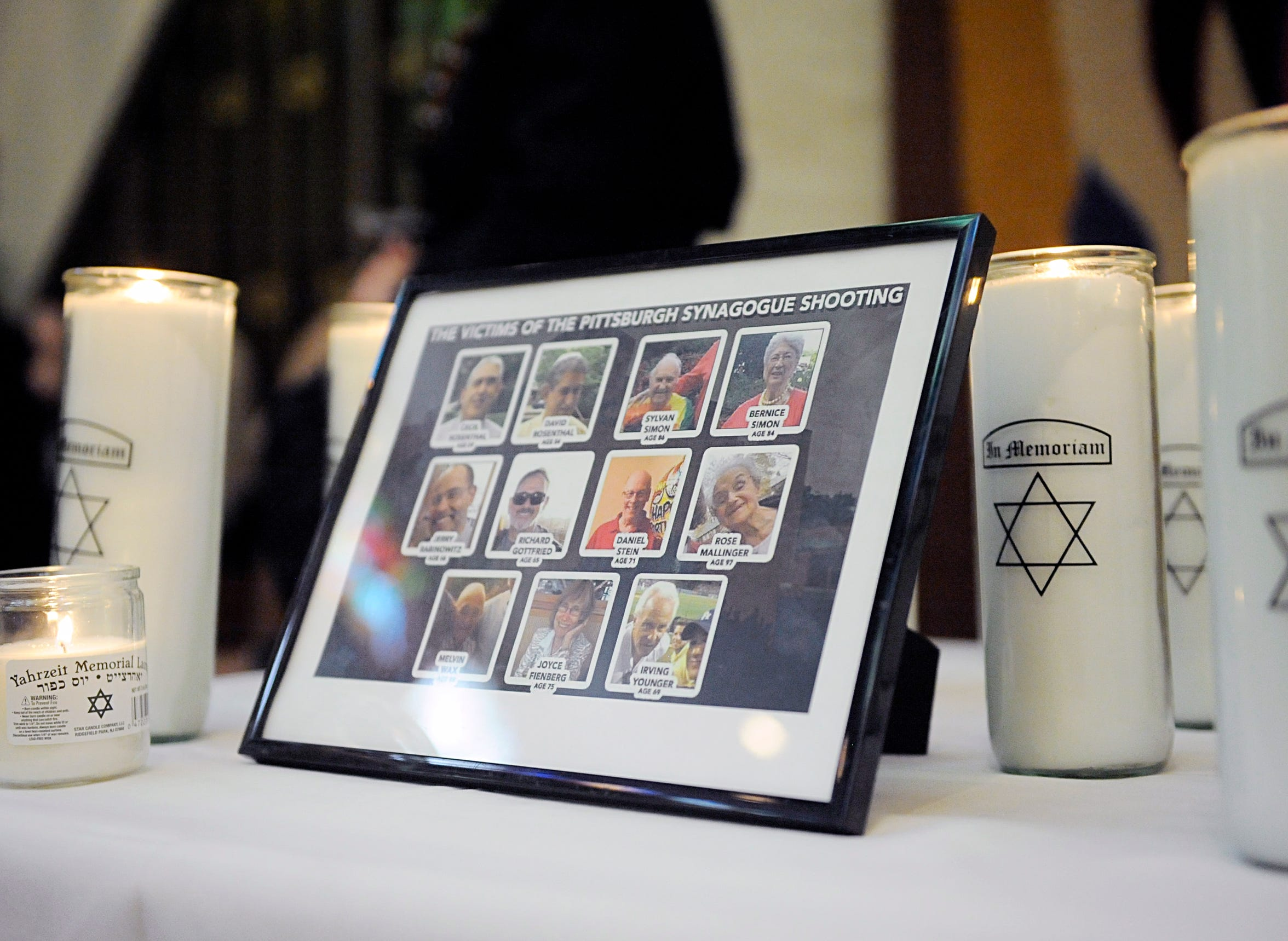 A picture of the 11 people killed at the Tree of Life Synagogue in Pittsburgh. The names of the fallen were read and candles lit in their memory at Beth Israel Congregation in Vineland on Thursday, November 1, 2018.