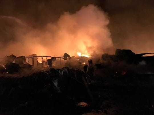 A fire erupted at Bassett's Cricket Farm just after midnight near Road 156 and Avenue 280. One firefighter -- and countless crickets -- were injured in the blaze.
